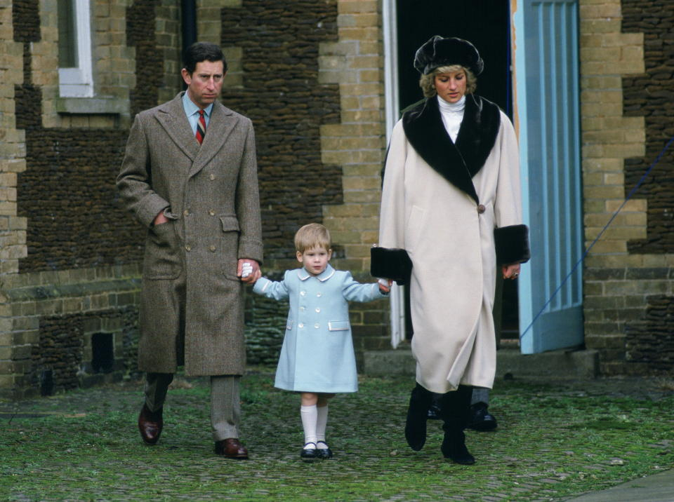 Prince Charles, Prince Harry and Princess Diana arrive for a photocall at Sandringham