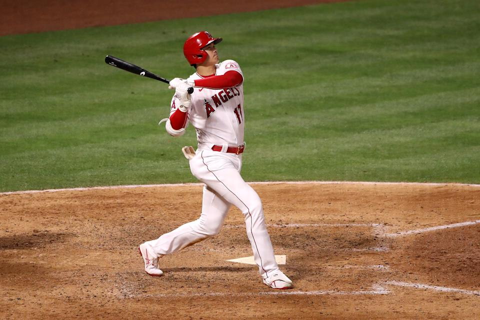 ANAHEIM, CALIFORNIA - JUNE 09: Shohei Ohtani #17 of the Los Angeles Angels at bat during the seventh inning against the Kansas City Royals at Angel Stadium of Anaheim on June 09, 2021 in Anaheim, California. (Photo by Katelyn Mulcahy/Getty Images)