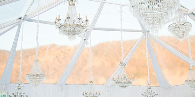 Kaley Cuoco's wedding to Ryan Sweeting featured these elegant chandeliers. (Photo: Courtesy of Premiere Props)