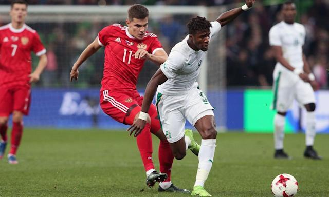 """<span class=""""element-image__caption"""">Wilfred Zaha in action for Ivory Coast against Russia last week. </span> <span class=""""element-image__credit"""">Photograph: STR/AFP/Getty Images</span>"""