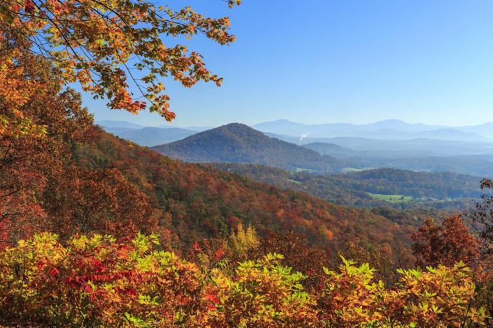 """<p>Nestled in the Blue Ridge Mountains, Asheville is celebrated for having one of the longest fall color seasons in the entire world. One million acres of protected forests and thousands of trails weaving through valleys surround the beloved Southern city. There's plenty to see in town from the grand Biltmore Estate to the city's art museum; we also recommend visiting Pisgah National Forest for breathtaking views of the foliage. Not one for too much hiking? The Blue Ridge Parkway is calling your name with miles of endless views. <br><em><br>Where to Stay: <a href=""""https://www.omnihotels.com/hotels/asheville-grove-park"""" rel=""""nofollow noopener"""" target=""""_blank"""" data-ylk=""""slk:The Omni Grove Park Inn"""" class=""""link rapid-noclick-resp"""">The Omni Grove Park Inn</a> in Asheville, North Carolina</em></p>"""
