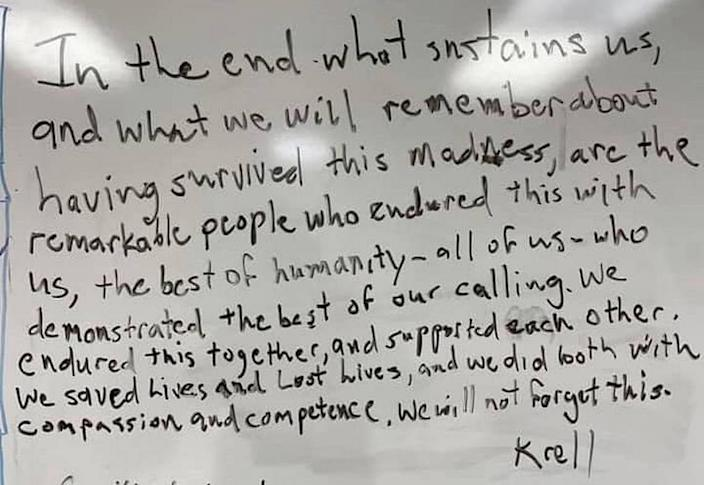 A note to hospital staff written by Kenneth Krell, Eastern Idaho Regional Medical Center intensivist, was shared by thousands.