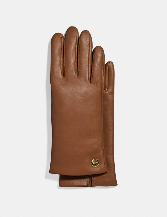 Horse And Carriage Plaque Leather Tech Gloves.