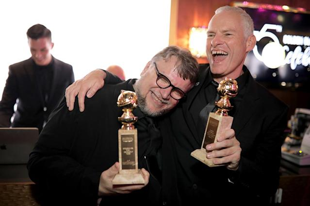 <p>Filmmakers Guillermo del Toro, winner of the award for Best Director (Motion Picture) for <em>The Shape of Water</em>, and Martin McDonagh, winner of the award for Best Screenplay (Motion Picture) for <em>Three Billboards Outside Ebbing, Missouri</em>, attend the official HFPA viewing and after-party. (Photo: Greg Doherty/Getty Images) </p>