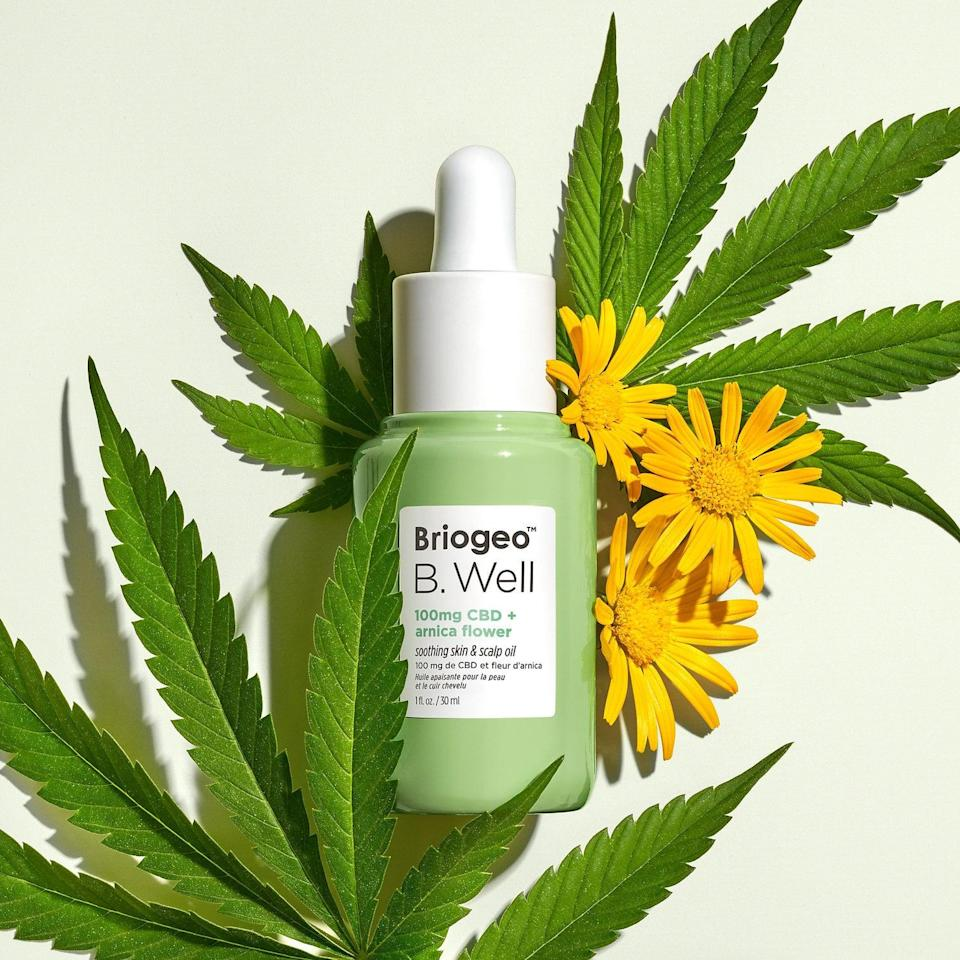"""<p>Why should your face (and body) have all the fun? The <span>Briogeo B.Well 100mg CBD + Arnica Flower Soothing Skin and Scalp Oil</span> ($48) has 100 mg of CBD oil along with organic arnica flower extract to combat dryness. The broad-spectrum CBD oil works with the added hemp and tamanu-seed oils to soothe your scalp. Try it on its own, or mix the drops into <a href=""""https://www.popsugar.com/beauty/Best-Hair-Products-All-Time-46350808"""" class=""""link rapid-noclick-resp"""" rel=""""nofollow noopener"""" target=""""_blank"""" data-ylk=""""slk:your favorite hairstyling products"""">your favorite hairstyling products</a>. It also currently has a 100 percent recommendation rating by Sephora shoppers (and 4.9 out of five stars).</p>"""