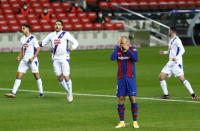 Barcelona's Martin Braithwaite reacts after missing to score from a penalty shot during the Spanish La Liga soccer match between Barcelona and Eibar at the Camp Nou stadium in Barcelona in Barcelona, Spain, Tuesday, Dec. 29, 2020. (AP Photo/Joan Monfort,)