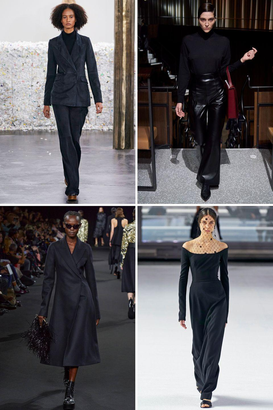 <p>Monochromatic darks from head to toe was a theme in many collections from Rochas to Carolina Herrera this season. Try the trend in leather, suede, and even knitwear. And trust that investing in staples from your favorite designers will last well beyond this season. </p><p><em>Clockwise from top left: Gabriela Hearst, Emilia Wickstead, Carolina Herrera, Rochas</em></p>