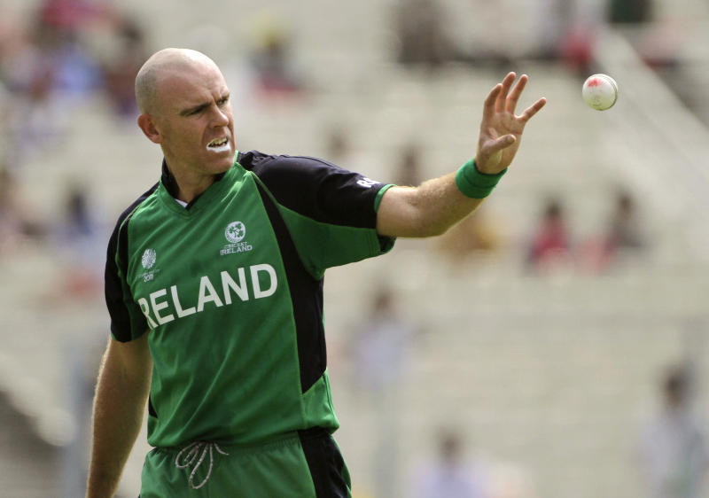 Ireland's Trent Johnston catches a ball during the Cricket World Cup match between Ireland and Netherlands in Calcutta, India, Friday, March 18, 2011. (AP Photo/Bikas Das)
