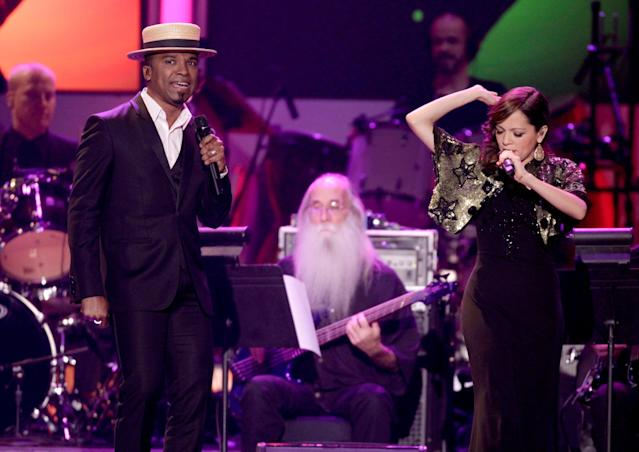 LAS VEGAS, NV - NOVEMBER 14: Singers Alexandre Pires and Natalia Lafourcade perform onstage during the 2012 Latin Recording Academy Person Of The Year honoring Caetano Veloso at the MGM Grand Garden Arena on November 14, 2012 in Las Vegas, Nevada. (Photo by Eric Jamison/Getty Images)