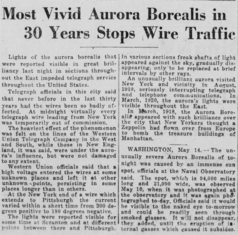 May 15 1921 report of solar storm disrupting telegraph wires in New York (Image Provided by Library of Congress, Washington, DC/New-York tribune)