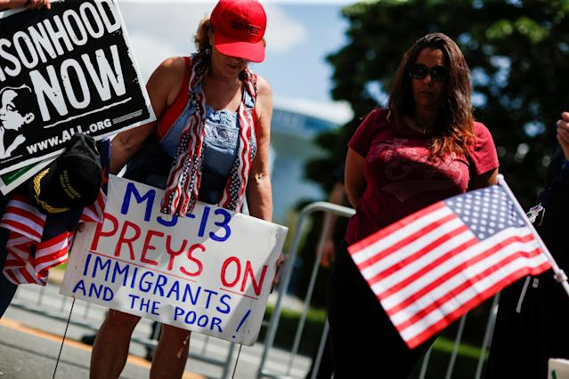 "<span class=""s1"">The Long Island event drew protesters against MS-13. (Photo: Eduardo Munoz/Reuters)</span>"