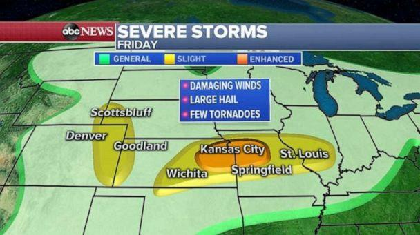 PHOTO: Storms are likely to cover most of the heartland on Friday. (ABC News)