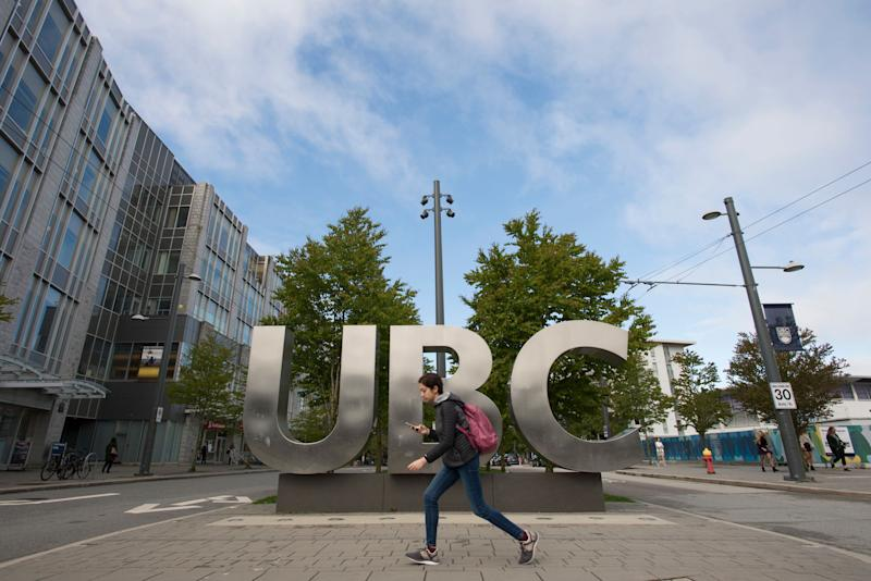 The UBC sign is pictured at the University of British Columbia in Vancouver, Tuesday, Apr 23, 2019. (Photo: Jonathan Hayward/THE CANADIAN PRESS)