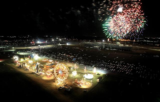 FORT WORTH, TX - NOVEMBER 02: Fireworks are seen over the Carnival area during the NASCAR Camping World Truck Series WinStar World Casino 350k at Texas Motor Speedway on November 2, 2012 in Fort Worth, Texas. (Photo by Ronald Martinez/Getty Images)