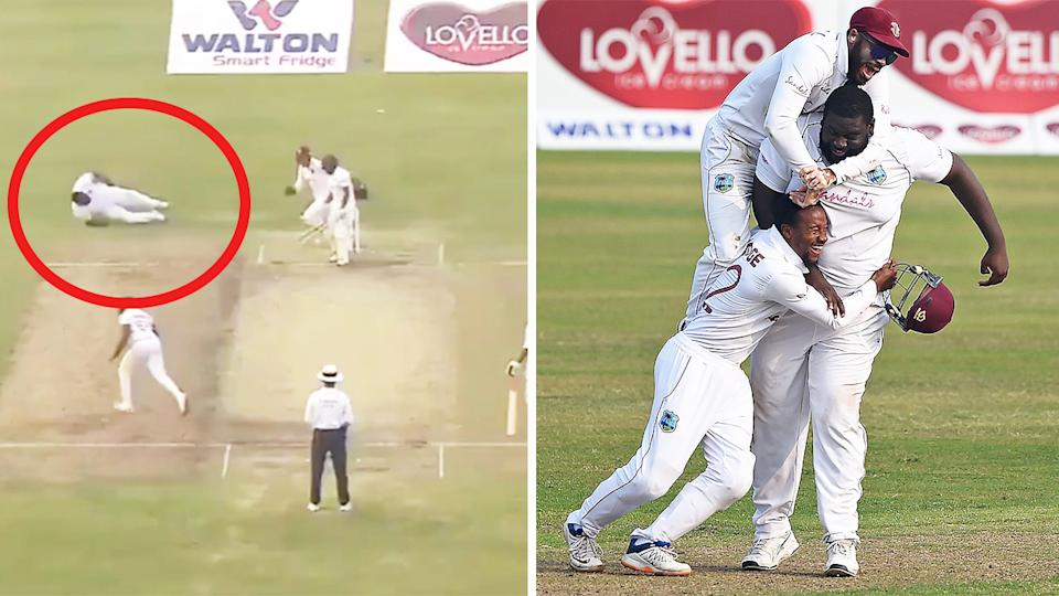 Rahkeem Cornwall (pictured right) taking the match-winning catch and teammates celebrating with Cornwall (pictured right) after a wicket. (Image: Twitter/Getty Images)