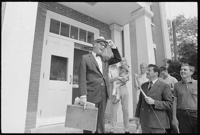 <p>Judge James A. Boyle tips his hat as he leaves the Edgartown District Court after meeting with District Attorney., Boyle Dinis in Edgartown, Mass., on Aug. 8, 1969. Judge Boyle who will preside, set Sept. 3, as the date he will start the inquest into the cause of death of 28-year-old Mary Jo Kopechne. She was killed July 18 when the car Sen. Kennedy was driving plunged off a narrow wooded bridge. (Photo: Bettmann/Getty Images) </p>