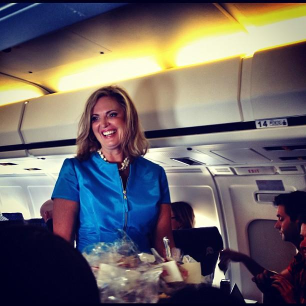 Ann Romney visits the press cabin (Cincinnati OH)