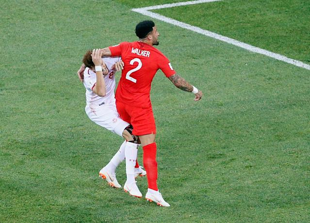 Soccer Football – World Cup – Group G – Tunisia vs England – Volgograd Arena, Volgograd, Russia – June 18, 2018 Tunisia's Fakhreddine Ben Youssef is fouled by England's Kyle Walker resulting in a penalty REUTERS/Gleb Garanich