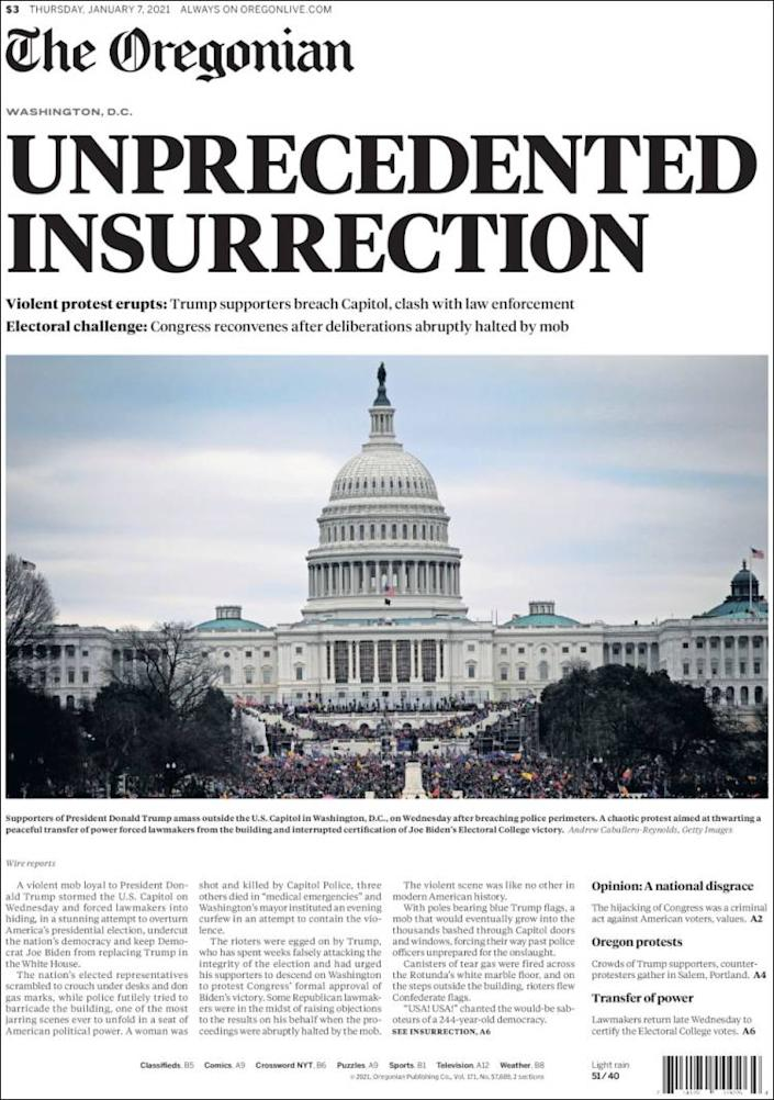 Front page of the Oregonian on Thursday