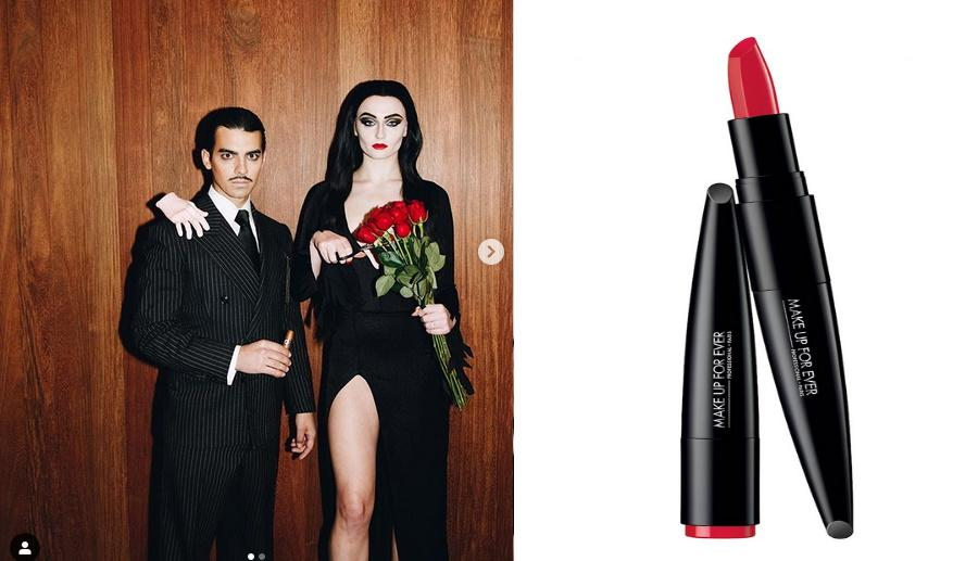 Sophie Turner and Joe Jonas, Make Up For Ever Rouge Artist Lipstick. Images via Instagram/sophiet, Sephora