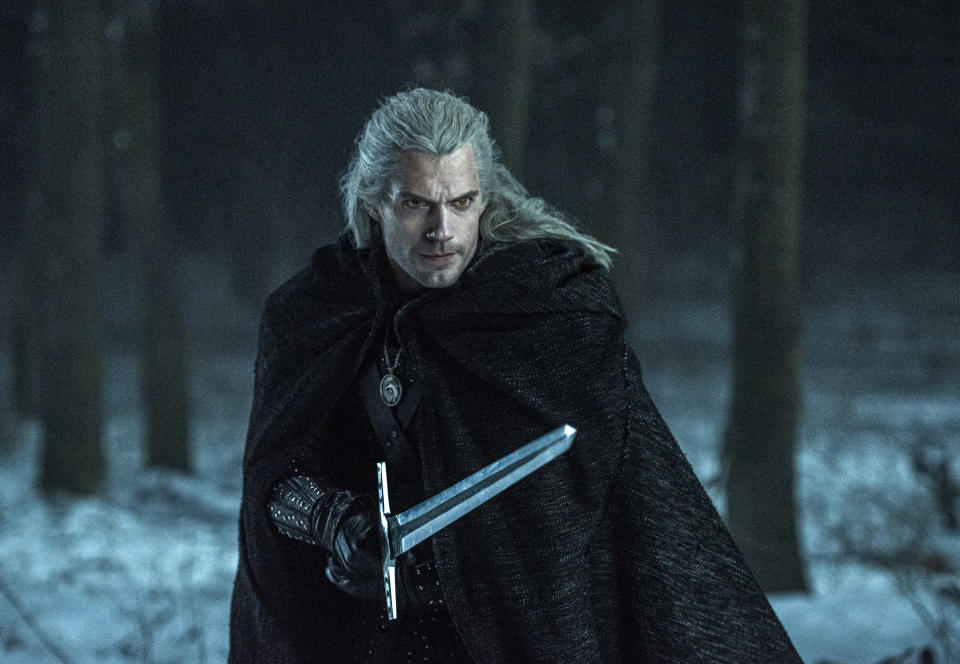 "This image released by Netflix shows Henry Caville in a scene from the series ""The Witcher,"" based on a fantasy novel series that found fame as a video game. (Katalin Vermes/Netflix via AP)"