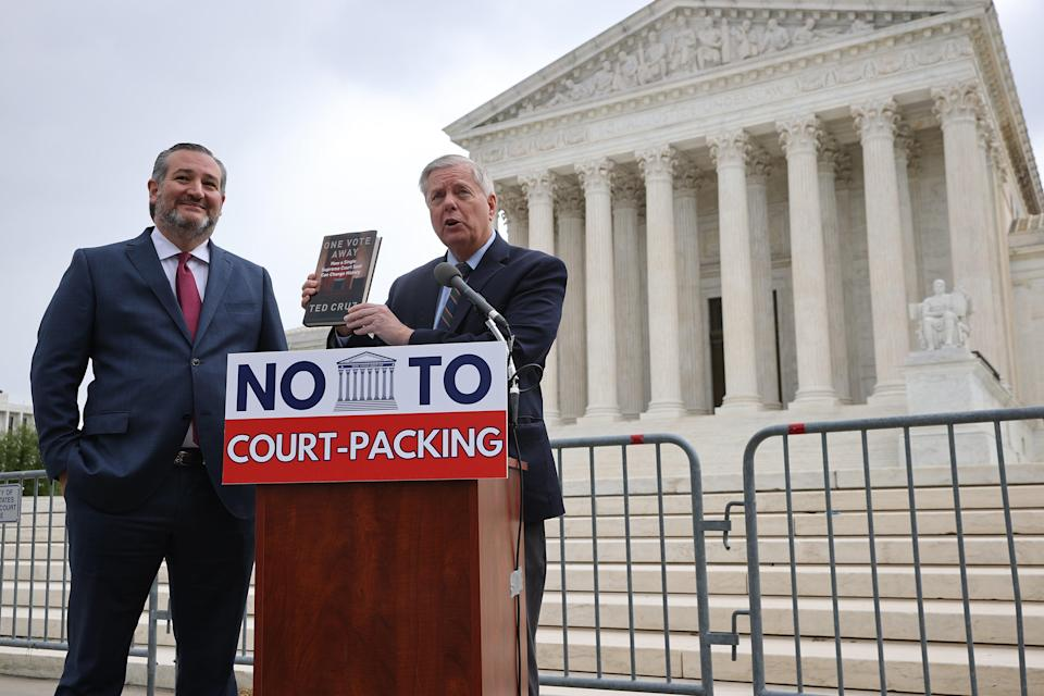 <p>Senators Graham and Cruz speak out against expanding Supreme Court during a news conference </p> (Getty Images)