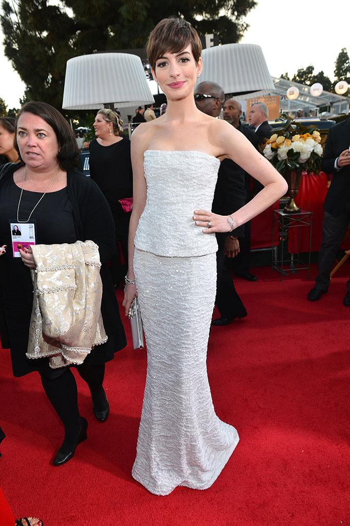 """Best: Anne Hathaway, who picked up the Best Supporting Actress in a Motion Picture for her role as Fantine in """"Les Miserables,"""" wowed in a sparkly Chanel gown."""