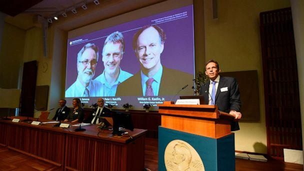 PHOTO: Thomas Perlmann (right), the secretary of the Nobel Committee, speaks as the winners are announced of the 2019 Nobel Prize in Physiology or Medicine during a press conference at the Karolinska Institute in Stockholm, Sweden, Oct. 7, 2019. (Jonathan Nackstrand/AFP via Getty Images)