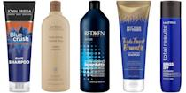 """<p class=""""body-dropcap"""">Blue shampoo won't turn your hair blue. But what it can do is help fight the stubborn brassy, orange tones that can make brunette hair lose its luster. Think of it as simple color theory: the same way that purple shampoo can help brighten blonde hair by counteracting yellow tones, the same is true for blue shampoo and brown hair's orange tones. A great blue shampoo will help extend the quality of your hair color between salon or color appointments without accidentally redecorating your entire bathroom. Ahead, the 8 essential blue shampoo formulas for all hair types.</p>"""