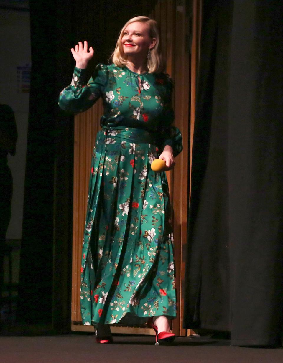 <p>Kirsten Dunst takes the stage at <em>The Power of the Dog</em> premiere in London on Oct. 11.</p>