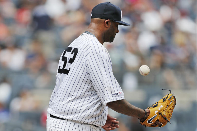 New York Yankees' starting pitcher CC Sabathia tosses the ball after allowing a three-run home run to Cleveland Indians' Mike Freeman during the second inning of a baseball game against the Cleveland Indians, Sunday, Aug. 18, 2019, in New York. (AP Photo/Kathy Willens)