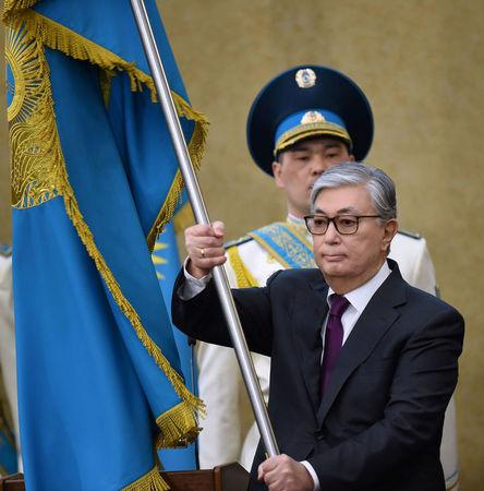 Acting President of Kazakhstan Tokayev takes part in a swearing-in ceremony in Astana
