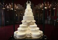 "<p>Baker Fiona Cairns produced an eight-tier fruitcake for the day.</p><p>'In many ways, I would say that Kate designed her wedding cake, because she knew very clearly what she wanted and did not want,' Cairns told <a href=""https://www.townandcountrymag.com/society/tradition/a19695573/kate-middleton-royal-wedding-cake-baker-fiona-cairns/"" rel=""nofollow noopener"" target=""_blank"" data-ylk=""slk:Town & Country"" class=""link rapid-noclick-resp"">Town & Country</a>. </p><p>'The ideas came from her, we had meetings with her, and the brief was from Kate.'</p><p>Cairns was commissioned to make the cake on February 18 that year and had the cakes baked by the beginning of March, 'so [they had] two months to mature', she told the publication.</p><p>Meanwhile, Harry and Meghan chose a lemon elderflower bake for their wedding day. </p>"
