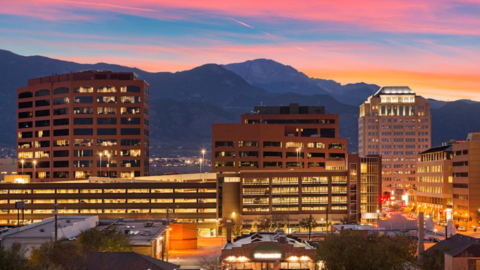 Downtown Colorado Springs at Dusk.