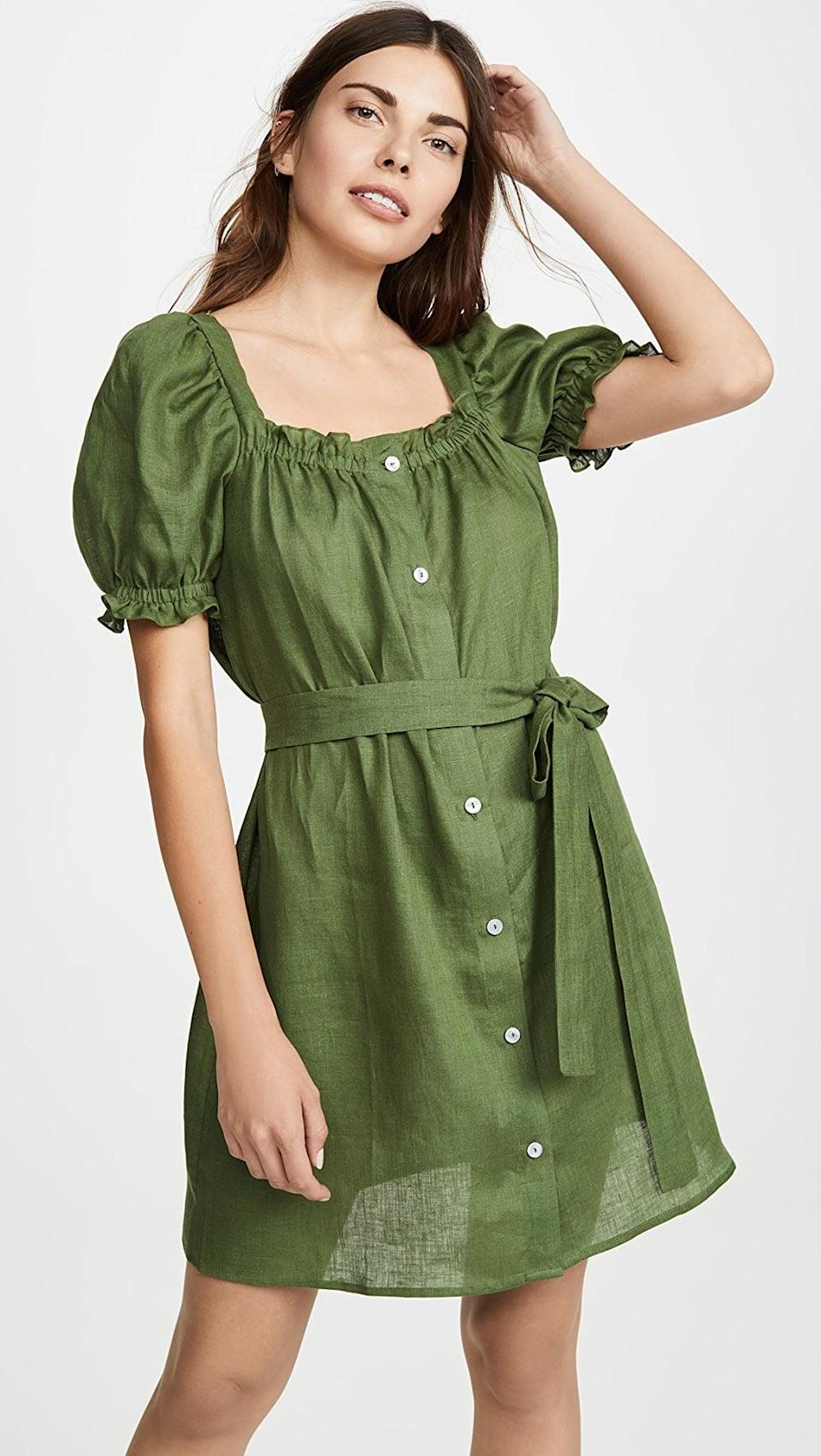 <p>This <span>Sleeper Brigitte Linen Mini Dress</span> ($260) can double as a nightgown, making it the perfect at-home pick.</p>