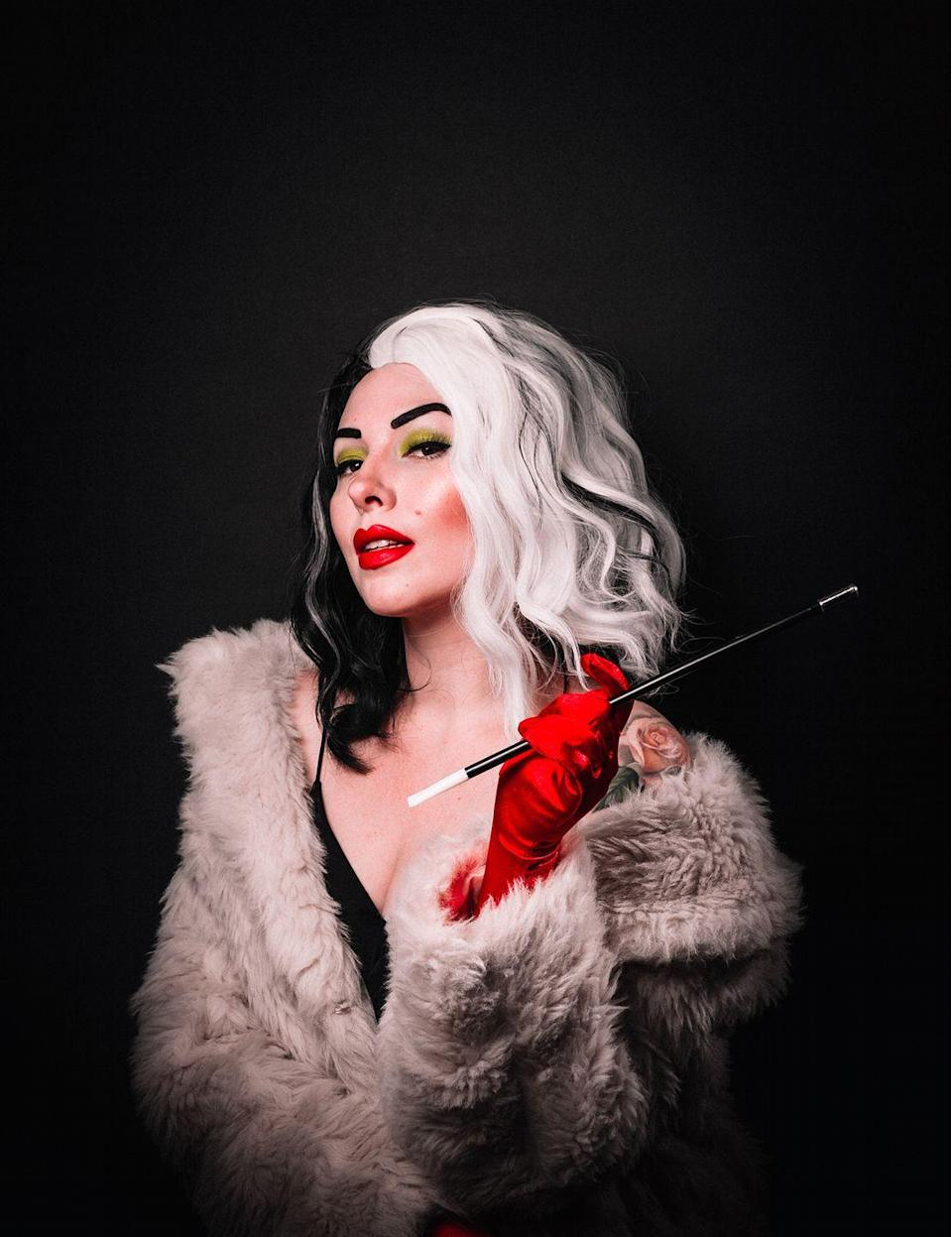 """<p>With the new movie dedicated to her out this year, Halloween 2021 is the perfect time to honor cold-hearted Cruella with a costume. It's easy to pull off with a few props, like the half-white, half-black wig and a cigarette holder.</p><p><strong>Get the tutorial at <a href=""""https://keikolynn.com/2019/10/disney-villains-halloween-costumes/"""" rel=""""nofollow noopener"""" target=""""_blank"""" data-ylk=""""slk:Keiko Lynn"""" class=""""link rapid-noclick-resp"""">Keiko Lynn</a>.</strong></p><p><a class=""""link rapid-noclick-resp"""" href=""""https://www.amazon.com/dp/B01AIWBUR6/ref=twister_B089NNRGY9?tag=syn-yahoo-20&ascsubtag=%5Bartid%7C10050.g.36674692%5Bsrc%7Cyahoo-us"""" rel=""""nofollow noopener"""" target=""""_blank"""" data-ylk=""""slk:SHOP CIGARETTE HOLDERS"""">SHOP CIGARETTE HOLDERS</a><br></p>"""