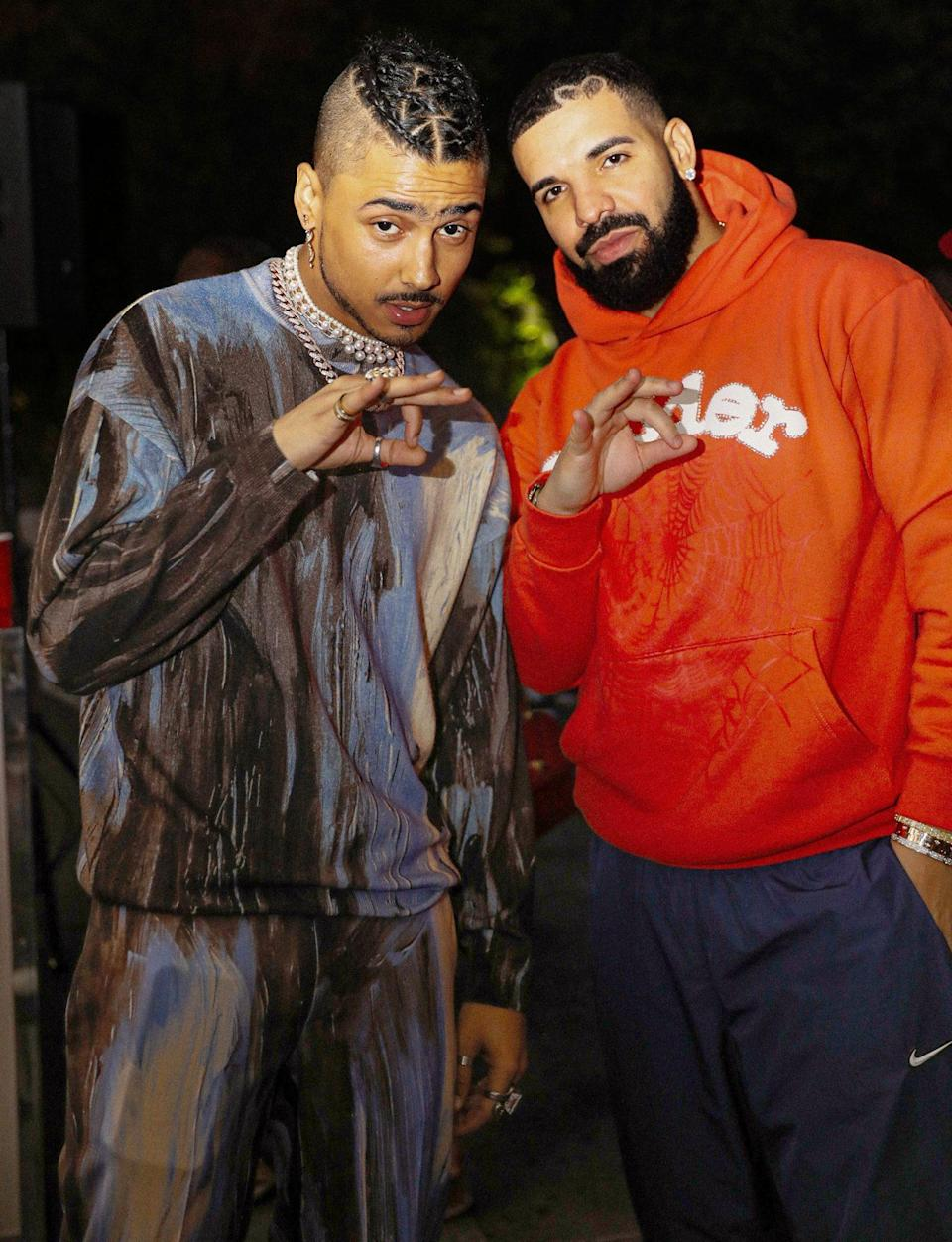 <p>Quincy Brown and Drake pose at Quincy's 30th birthday party on June 5 in Beverly Hills.</p>