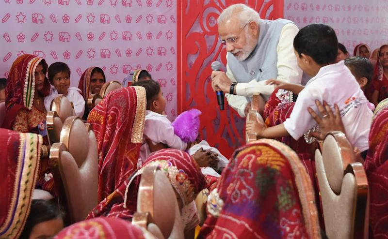 Modi also interacted with beneficiary mothers and girl children during the event. He said that several women have left an indelible mark in the history of humankind through their impeccable work for the society. Twitter @BJP4Rajasthan