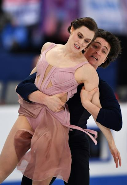 Tessa Virtue and Scott Moir of Canada compete to win the Ice Dance / Free Dance event at the ISU World Figure Skating Championships in Helsinki, Finland on April 1, 2017