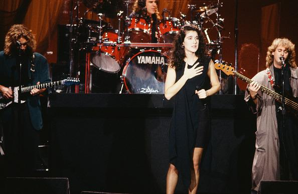 <p>A 22-year-old Celine is the picture of innocence while performing in a LBD with a draped front at the Tonight Show. <i>(Joseph Del Valle/NBC/NBCU Photo Bank via Getty Images)</i><br /></p>