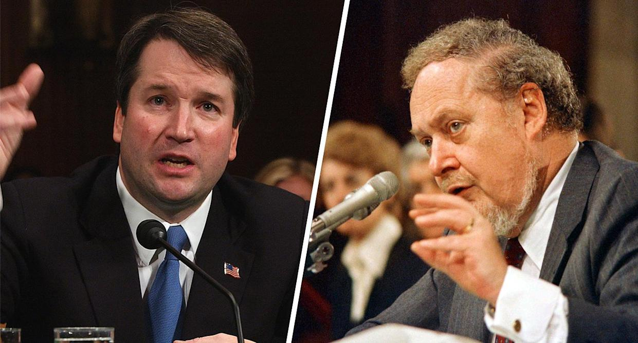 Supreme Court nominees, Judge Brett Kavanaugh and Judge Robert H. Bork. (Photos: Dennis Cook/AP; Charles Tasnadi/AP)