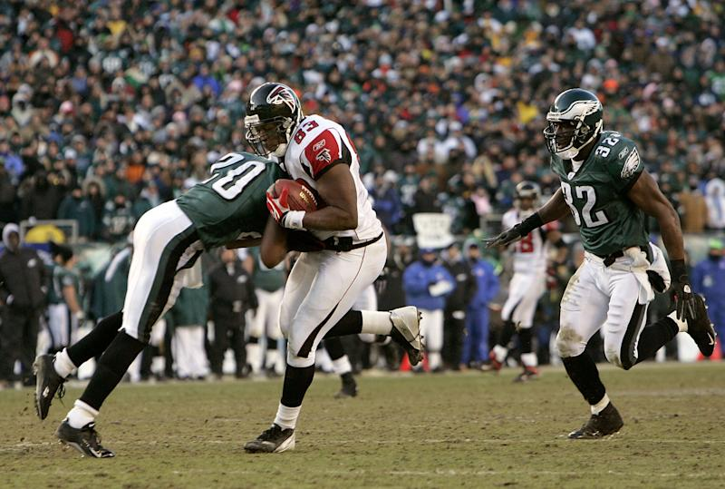 Brian Dawkins delivered a message in the NFC title game to Atlanta's Alge Crumpler in 2005. (Getty Images)