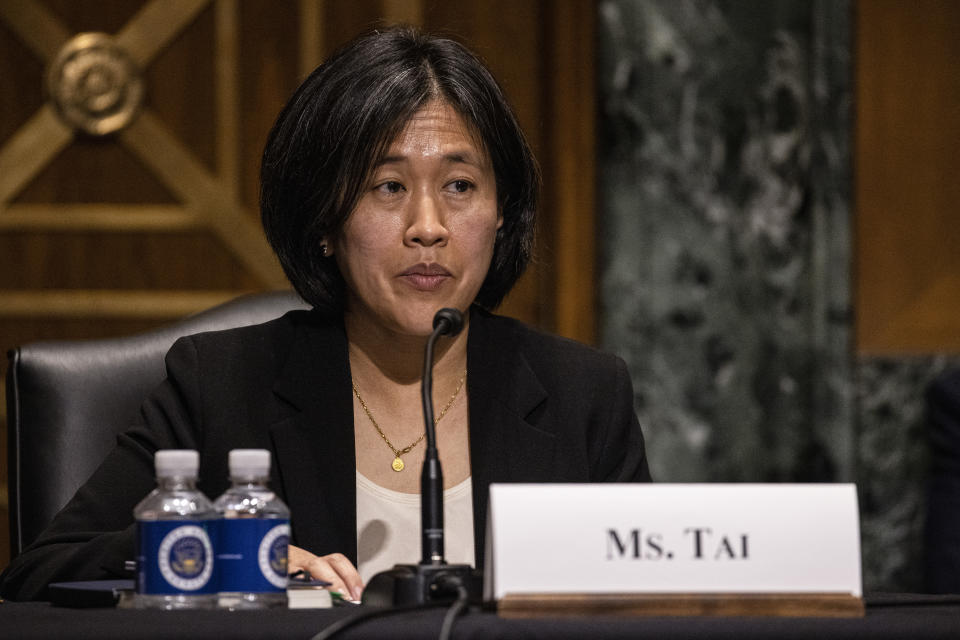 Katherine Tai, nominee for U.S. trade representative, testifies before a Senate Finance Committee hearing on Capitol Hill, in Washington, Thursday, Feb. 25, 2021. (Tasos Katopodis/Pool via AP)