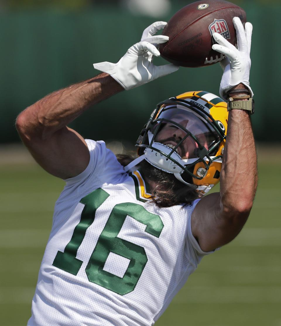 Green Bay Packers wide receiver Jake Kumerow is shown Monday, August 17, 2020, during training camp in Green Bay, Wis.
