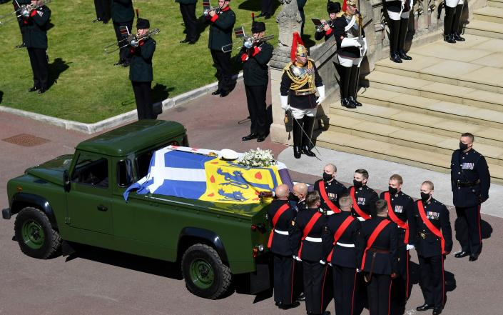Prince Philip's modified Land Rover that carried his coffin - AFP