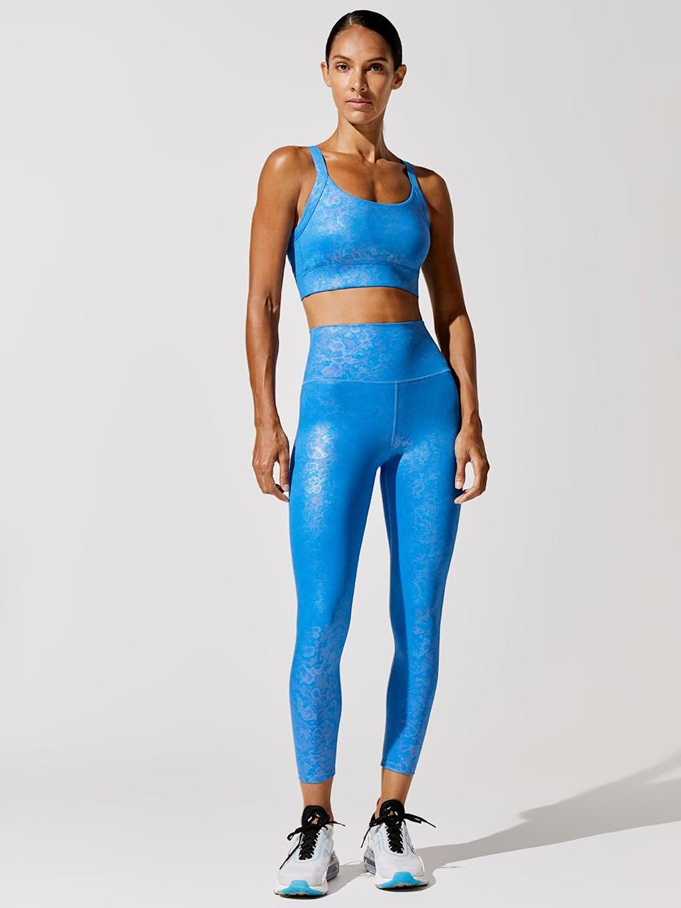 <p>We're so into the vibrant color of this <span>Carbon38 Galaxy V Back Bra</span> ($78) and <span>High Rise 7/8 Legging</span> ($98).</p>