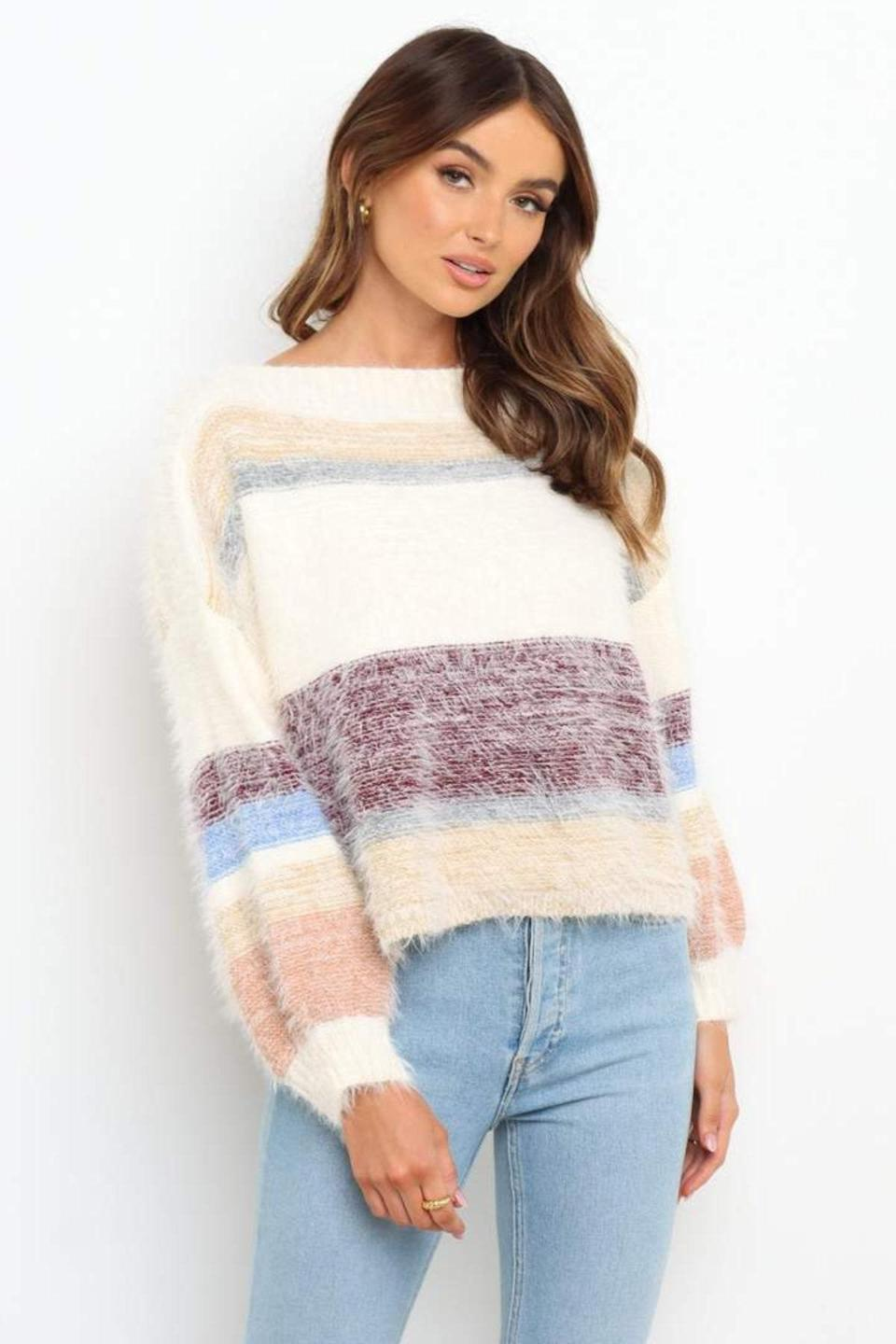 """The votes are in: It doesn't get fuzzier than this. $65, Petal + Pup. <a href=""""https://petalandpup.com/collections/knitwear/products/annika-knit-white-stripe"""" rel=""""nofollow noopener"""" target=""""_blank"""" data-ylk=""""slk:Get it now!"""" class=""""link rapid-noclick-resp"""">Get it now!</a>"""