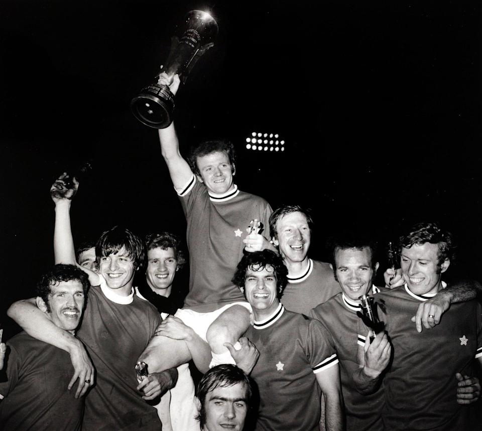 Cooper and his Leeds team-mates celebrate winning the Fairs Cup against Juventus in 1971 - Popperfoto via Getty Images