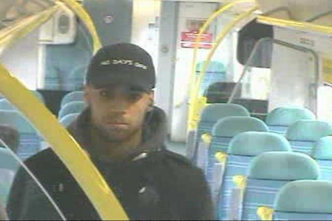 Police appeal: Officers want to speak to this man after the incident on a train between Clapham Junction and Victoria: British Transport Police