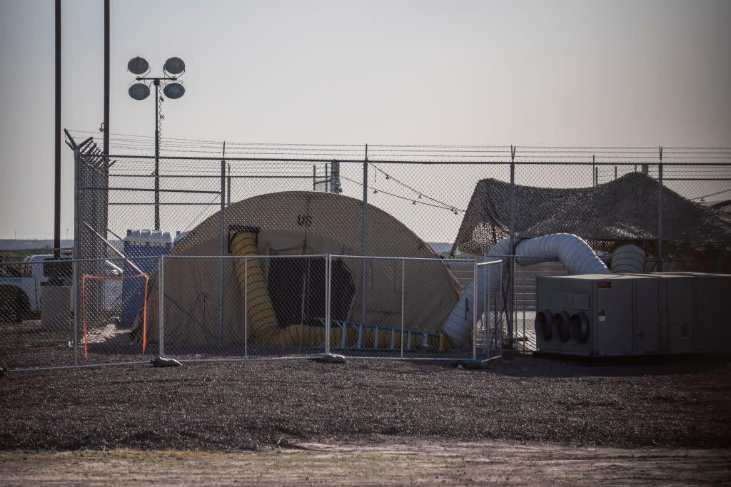 A temporary facility set up to hold migrants is pictured at a United States Border Patrol Station in Clint, Texas, on June 25, 2019. | Paul Ratje—AFP/Getty Images